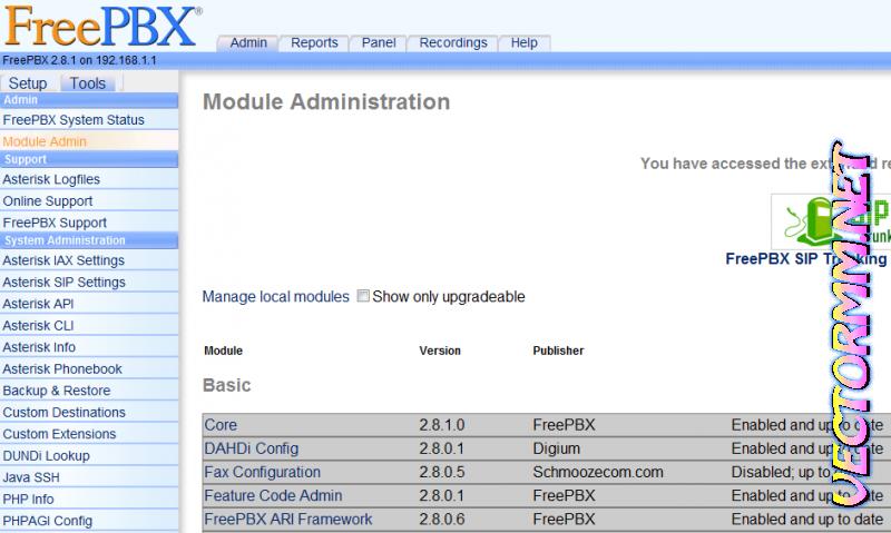 Установка Asterisk с веб интерфейсом FreePBX и модемом Huawey E1550